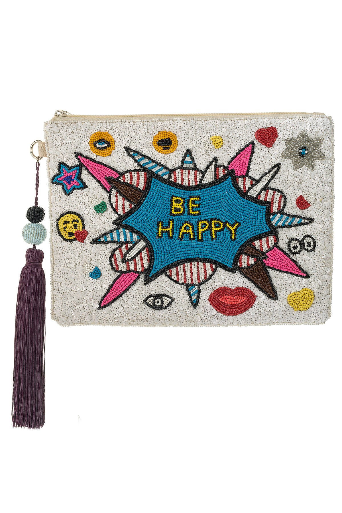 BE HAPPY_White Large Clutch