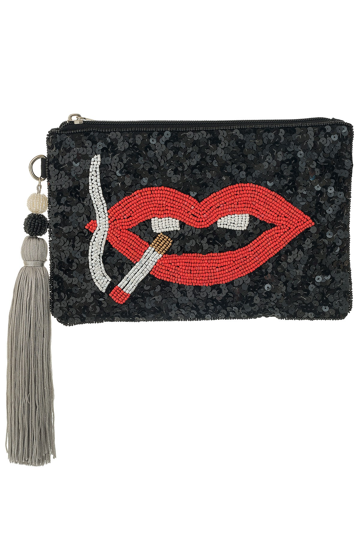 LIPS WITH CIGARETTE Medium Clutch