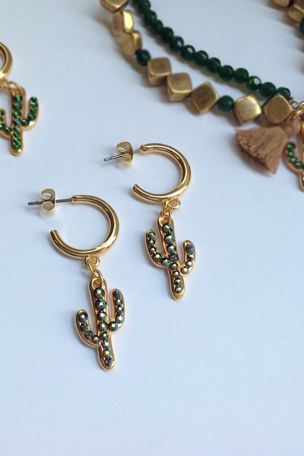 Hoops with cactus charm