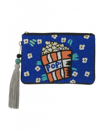 POPCORN_Blue LARGE CLUTCH