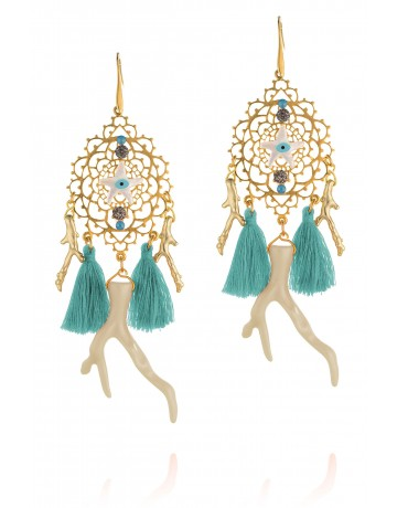 Long Earrings with Corals