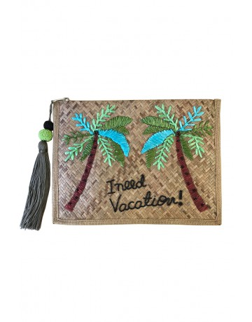I need Vacation!_Straw Large Clutch